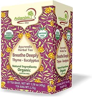 Adanim Bio Eucalyptus Thyme & Mullein Leaf Tea Bags - Organic Gourmet De-Congest Lung Health Respiratory Support Herbal Te...