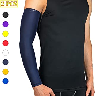 HiRui Arm Compression Sleeve, Arm Guards Elbow Brace for Basketball Football Volleyball Baseball Golf Cycling-Arthritis, UV Protection-Guard for Youth Adult Runners (1 Pair) (Navy Blue, XL)