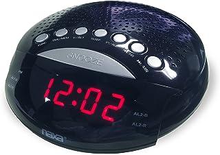 NAXA Electronics NRC-170 PLL Digital Dual Alarm Clock with AM/FM Radio and Snooze (Black Lacquer)