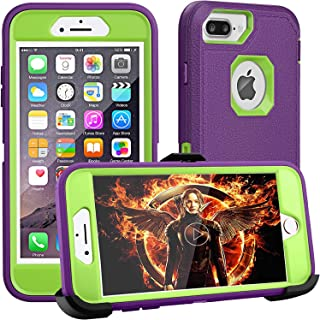 FOGEEK iPhone 8 Plus Case,iPhone 7 Plus Case,iPhone 6Plus Case, [Dust-Proof] Belt-Clip Heavy Duty Kickstand Cover[Shockproof] PC+TPU for Apple iPhone 7 Plus,iPhone 6/6s Plus(Purple and Green)