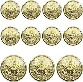 11 Pieces Metal Blazer Button Set - Eagle Badge - For Blazer, Suits, Sport Coat, Uniform, Jacket (Gold)