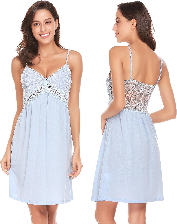 Adidome Lace Lingerie Spaghetti Strap Nightdress V Neck Full Slip Chemise Cotton Nightie Dress for Women(SXL)