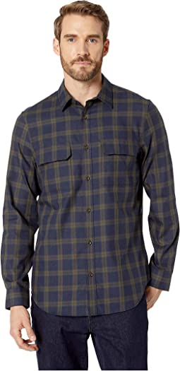 Long Sleeve Two-Pocket Brushed Twill Tatersal Button Down
