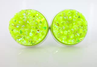 Silver-tone Neon Yellow AB Faux Druzy Stone Stud Earrings 12mm
