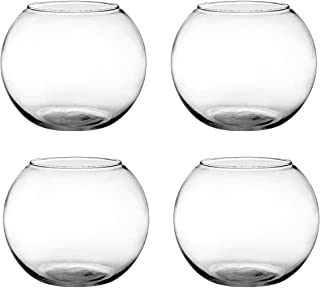 Set of 4 Syndicate Sales 6 inches Clear Rose Bowl bundled by Maven Gifts