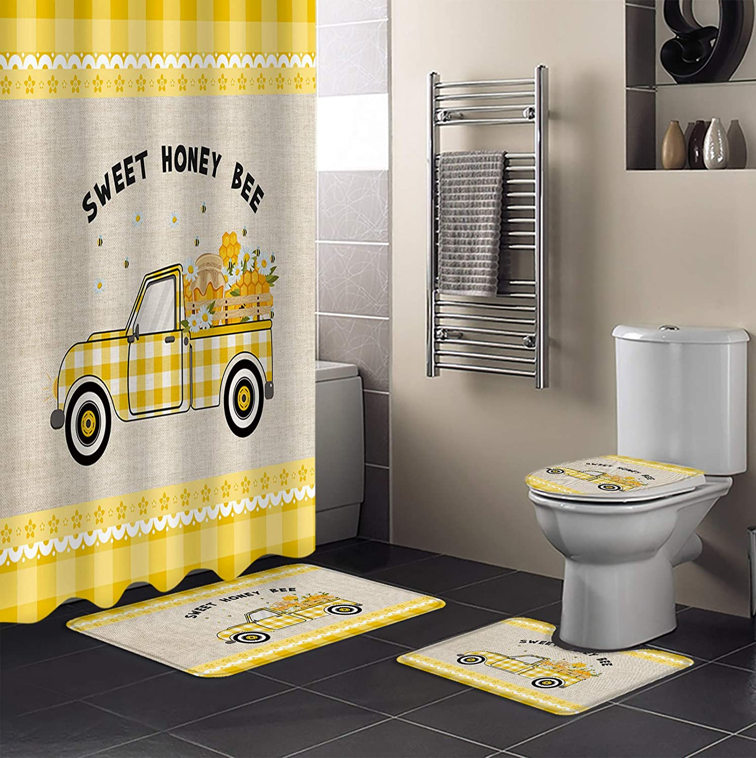 4 Piece A surprise price is realized Shower Curtain Sets Yellow Bathmats 36