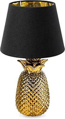 Navaris Lampe LED Forme Ananas - Lampe de Chevet et Veilleuse Design 40 cm en Forme d'Ananas - Lampe de Table Décorative Salon Chambre - Or/Noir