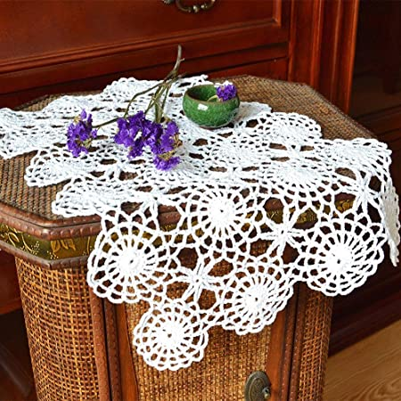 Crochet Placemats set of 2 Shades of Blue and Brown and Off White