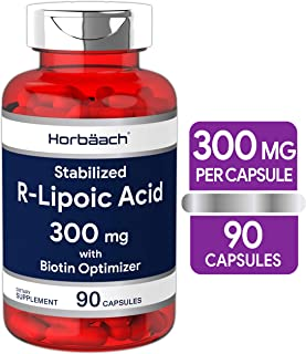 R Lipoic Acid 300mg Stabilized | 90 Capsules | Plus Biotin Optimizer | Non-GMO, Gluten Free | RALA Supplement | by Horbaach