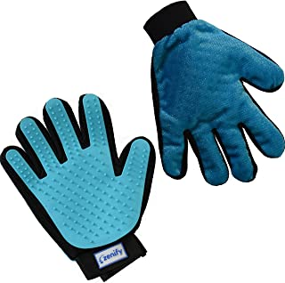 Zenify Pet Grooming Glove - Right Handed - For Cat, Kitten, Dog, Puppy, Rabbit, Horse - Dual Sided 2-in-1 Upgrade Version Machine Washable Enhanced Efficient Silicon Massage One-Size-Fits-All Gift Hair Deshedding Remover Mitt (Right Hand)