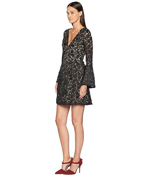 Vestido corte Monique láser ML manga con de de negro campana Lhuillier xrqrnwZU