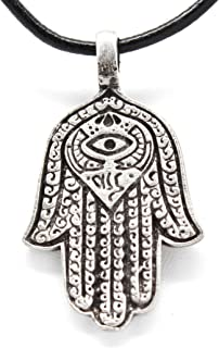 Pewter Hamsa Hand Egyptian Eye of Good Luck Fortune Love Health Pendant on Leather Necklace