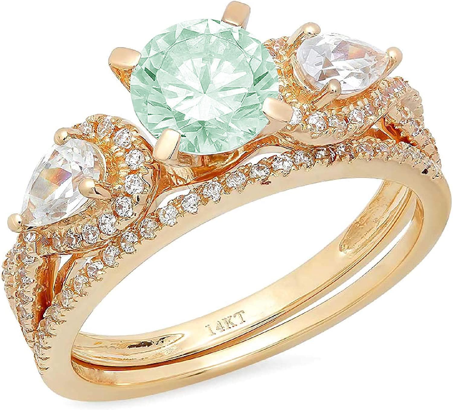 1.97ct Round Pear Cut Solitaire 3 stone With Accent Light Sea Green Simulated Diamond Designer Statement Classic Ring Band Set Real Solid 14k Yellow Gold