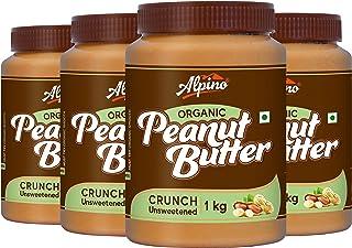 Alpino Organic Natural Peanut Butter Crunch 4 KG - Super Saver Pack [Unsweetened / Gluten Free / Non-GMO / Vegan (1 KG, Pa...