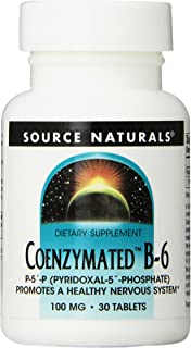 Source Naturals Coenzymated B-6, 100 mg Brain, Heart and PMS Support - 30 Tablets