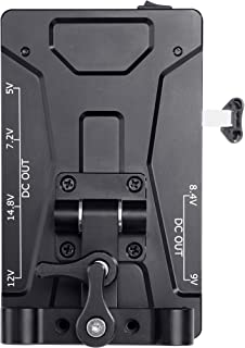 Movo RBS1 V-Mount Battery Plate with 15mm Rod Mount and 5V, 7.2V, 8.4V, 9V, 12V, 14.8V, and LP-E6 Power Supply Outputs for DSLR Cameras, Camcorders, Monitors, Microphones and More
