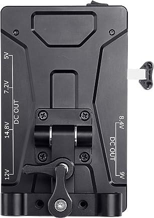 Movo RBS1 V-Mount Battery Plate with 15mm Rod Mount & 5V, 7.2V, 8.4V, 9V, 12V, 14.8V, LP-E6 Power Supply Outputs for DSLR Cameras, Camcorders, Monitors, Microphones & More