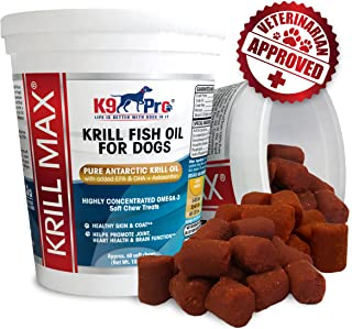 Krill MAX Fish Oil for Dogs - Soft Moist Tasty Chews 350mg Omega 3 Best Dog Joint Supplement with DHA EPA (Full 2 Month Supply) Plus Astaxanthin and Vitamin E - for Hip Joints Skin and Coat