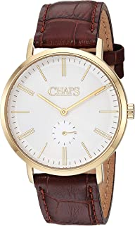 Chaps Dunham Leather Two-Hand Watch