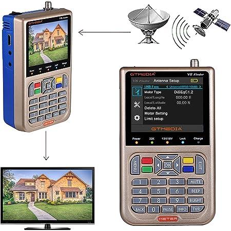 """GT MEDIA V8 Satfinder Meter Localizador de señal de satélites Digital Buscador de Satélite Medidor de Campo HD 1080P DVB-S/S2/S2X, 3.5"""" LCD Batería 3000mAh Incorporada"""