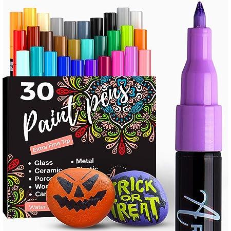 Artistro marqueur Acrylique stylos acryliques - 30 Couleurs Marqueurs Peinture Acrylique - Feutre Acrylique Pointe Fine 0.7mm - Stylos de Peinture pour Roche, Bois, métal, Plastique, Verre, Toile.