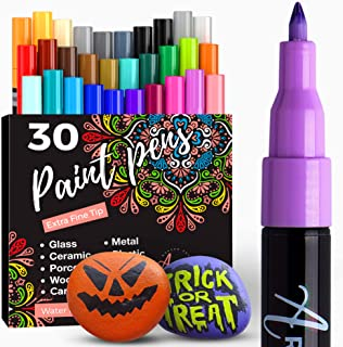 Acrylic Paint Pens for Rock Painting, Stone, Ceramic, Glass, Wood, Mugs, Metal, Fabric, Canvas (30 Pack) 28 Assorted Color...
