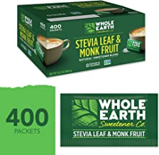 Whole Earth Sweetener Stevia Leaf & Monk Fruit Sweetener, Erythritol Sweetener, Sugar Substitute, Zero Calorie Sweetener, 400 Count Stevia Packets