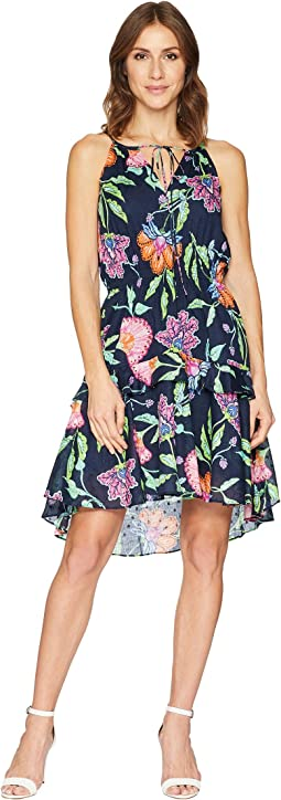Sleeveless Floral Print Cotton Dress