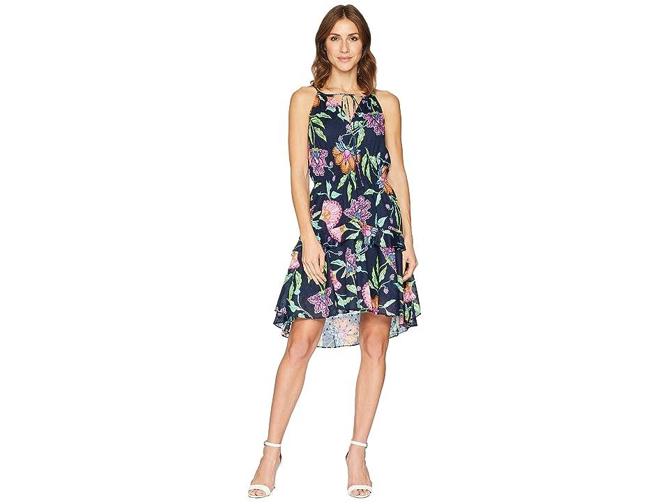 Taylor Sleeveless Floral Print Cotton Dress (Navy Multi) Women