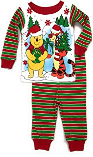 Baby Boys Winnie The Pooh & Tigger Christmas Cotton Tight Fit Pajamas (18 Months) Red, Green