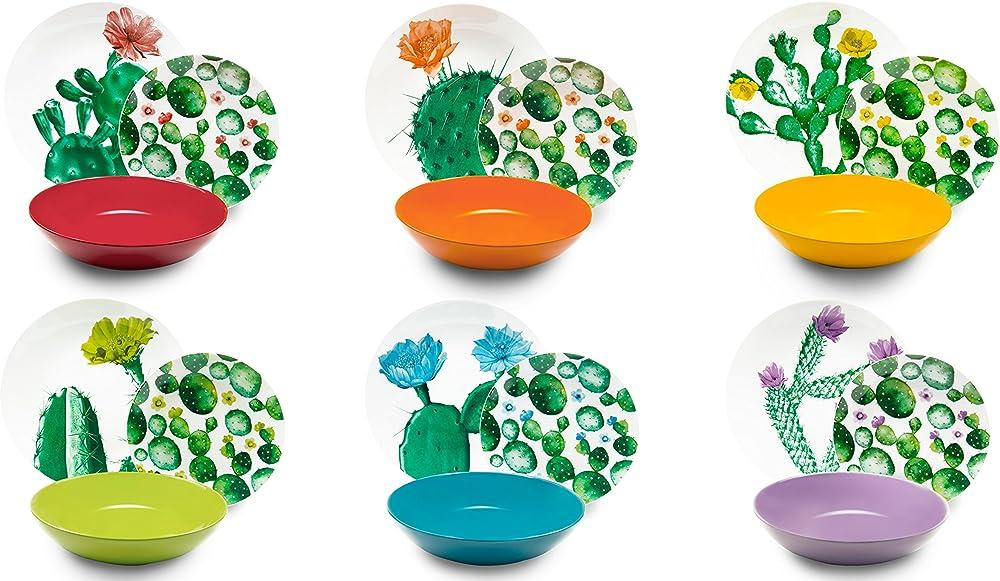 Excelsa tropical chic, servizio di piatti 18 pezzi, in porcellana e ceramica multicolore 62485