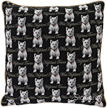 Signare Tapestry Black and White Double Sided Square Throw Pillow Cover 18 x 18/ 45cm x 45cm (No Padding) in Westie Dog Design