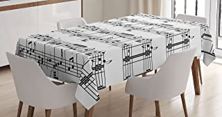 Ambesonne Music Tablecloth, Musical Notes on The Clef Illustration Ornamental Pattern Artwork Print, Dining Room Kitchen Rectangular Table Cover, 52