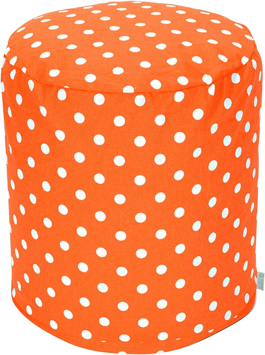 Majestic Home Goods Tangerine Small Polka Dot Small Pouf