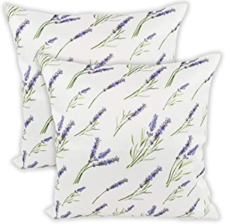 Elegant Harvest Lavender Flowers Vintage Floral Ivory Cushion Case Pillow Cover with Zipper 2 Pack 18 x18 Inch, Zippered Decorative Pillowcase for Bedroom Sofa