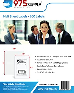 Shipping and Mailing FBA Labels, 975 Supply Half Sheet Labels, Packaged in Re-Usable Box, 5.5 x 8.5 inches, 200 Labels