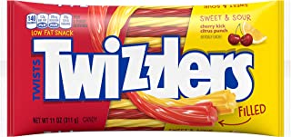 TWIZZLERS Filled Twists, Sweet & Sour Flavored Licorice Candy (Cherry Kick, Citrus Punch), 11-Ounce Bag (Pack of 12)