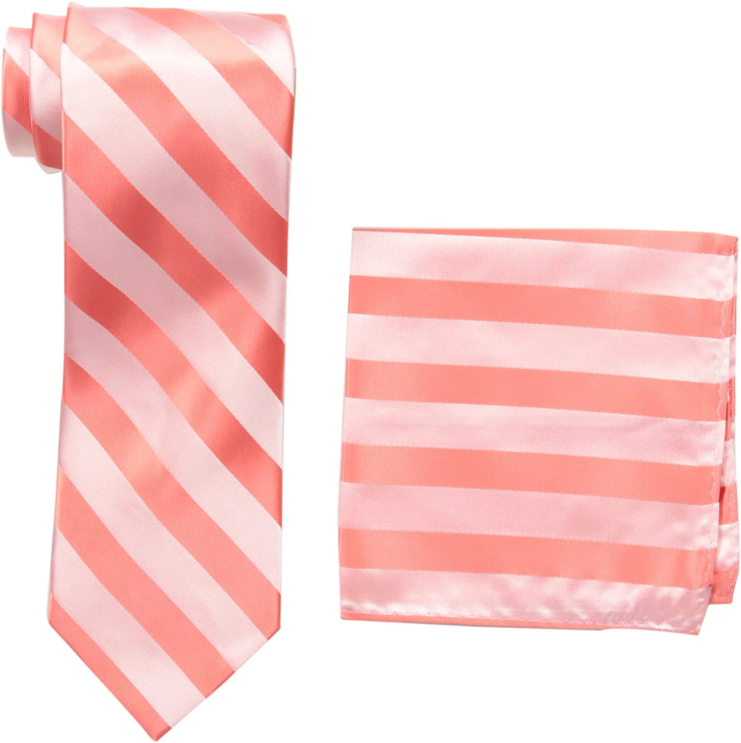 STACY ADAMS mens Solid Woven Formal Stripe Tie Set Extra Long