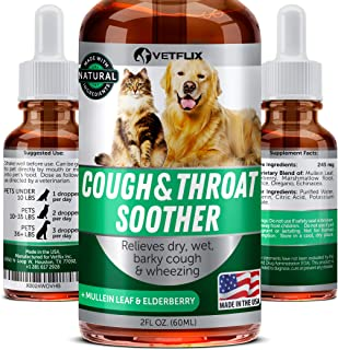 Vetflix Cough & Throat Soother for Dogs and Cats - Made in USA - Premium Herbal Cough Supplement - Cat Asthma & Kennel Cough Away - Mullen Leaf & Elderberry - Help with Dry, Wet & Barky Pet Cough