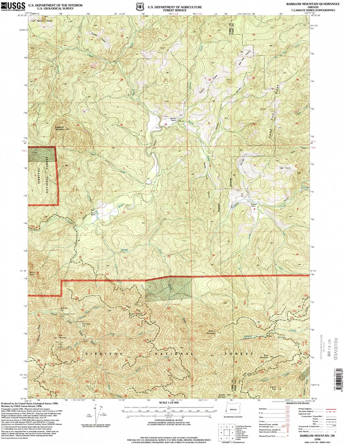 Barklow Mountain OR topo map, 1 24000 Scale, 7.5 X 7.5 Minute, Historical, 1996, Updated 1999, 26.8 x 21.9 in