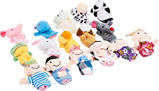16pcs Cartoon Animal Plush Finger Puppets Set Cute Dolls for Children, Story Time, Shows, Playtime, Schools