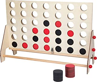 Refinery and Co. Tabletop 4 in a Row Wooden Gaming Set, Classic Board Game Collection, Stylish Natural Wood, Vintage Design, Perfect for Game Night, Housewarming, Family-Friendly Fun, Must Have Games