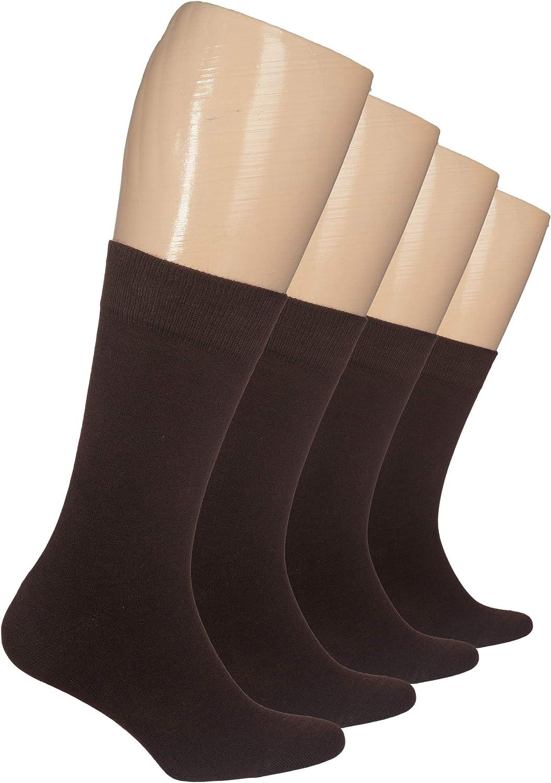 Hugh Ugoli Women's Cotton Dress Socks Seamless Toe Crew Socks with Gift Box, 4 Pairs
