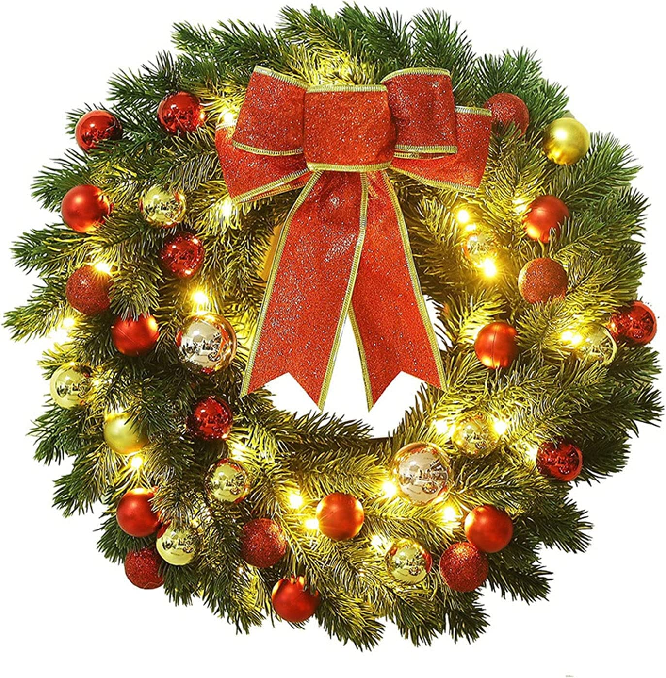 SanZHONGsd 16 Inches Milwaukee Mall LED Christmas with Import Pinecones Red Wreath Ber