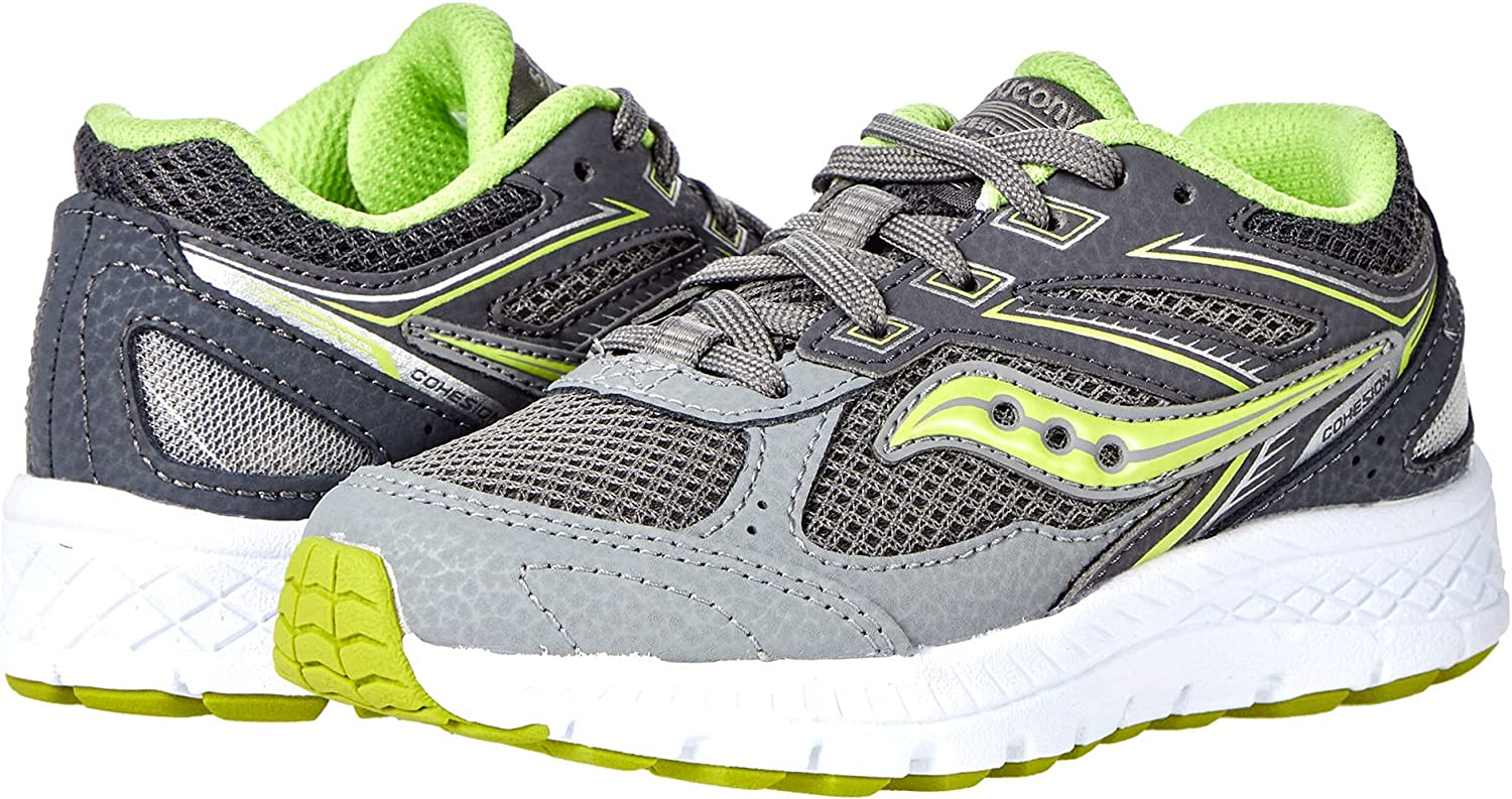 Saucony Cohesion 14 LACE to Toe Running Shoe, Grey/Citron, 3.5 Wide US Unisex Big_Kid