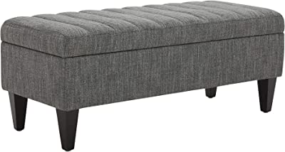 """Amazon Brand – Rivet Maple Channel Tufted Upholstered Storage Ottoman with a Soft-Close Hinge, 45.3""""W, Dark Grey"""