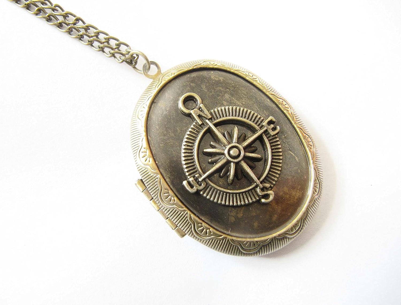 Bronze Washington Mall Max 52% OFF Compass Necklace Brass Locket