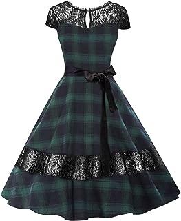 Classy 1950's Gracy Hepburn Vintage Plaid Swing Evening Dress