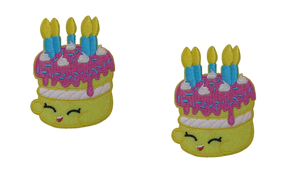 2 pieces BIRTHDAY CAKE Iron On Patch Cupcake Applique Baby Kids Motif Children Decal 3 x 2.4 inches (7.5 x 6 cm)