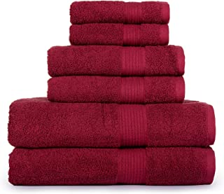 CASA LINO Hydro Basics Fade-Resistant 6-Piece Cotton Towel Set, 100% Cotton terry bathroom set, Soft, Absorbent, Machine Washable, Quick Dry (red)